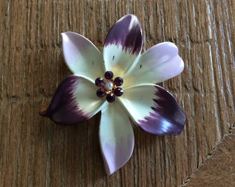 Pretty Purple Flower Brooch