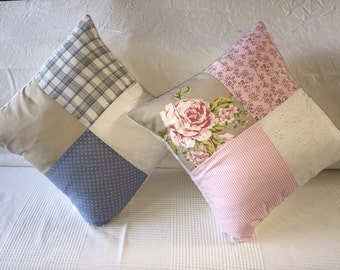 Patchwork Pillow Gift, Pattern Throw Pillow, Pink or Blue Pillow, Square Decorative Pillow, Custom Photo Pillow, Pastel Tones Cotton Pillow