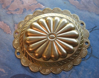 1 PC Extra Large Raw Brass Oval Concho Style Pierced Drop Finding - SS05