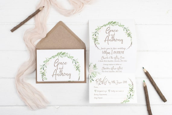 Rustic Wedding Invitation - Natural Meadow Z-Fold