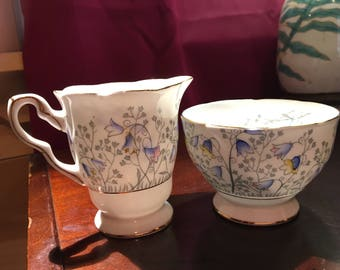 Staffordshire Bluebell Time Sugar and Creamer set