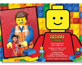 LEGO Birthday Party Photo Invitations - Digital File