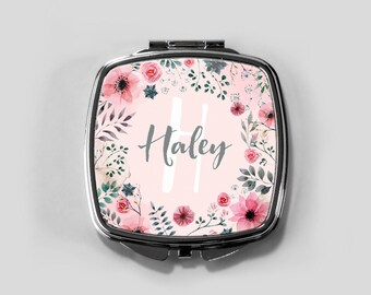 personalized compact mirror, personalized compact, compact mirror, custom bridesmaid gift, custom compact, purse mirror, pocket mirror