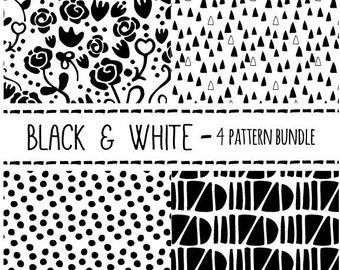 Black and White Clip Art Pattern Bundle