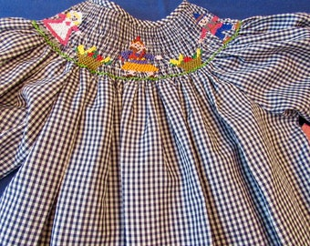 Thanksgiving hand smocked dress with Pilgrims harvesting k