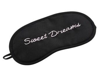Sweet Dreams eye mask sleep mask silky black pink embroidered dream night