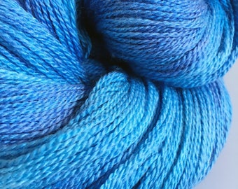 Hand Dyed Laceweight Yarn Merino Silk Skye blue 100g