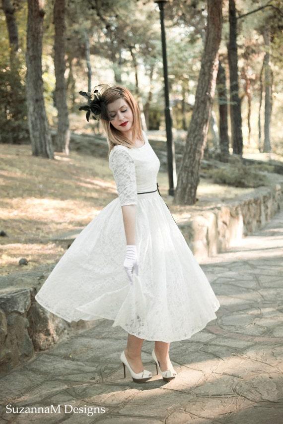 Ivory Lace Tea Length Dresses for Women