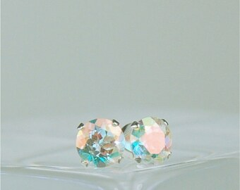 Opalescent Topaz Stud Earrings Sterling Silver 5mm Round 1.10ctw