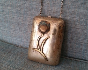Silver brass copper vintage purse hand bag