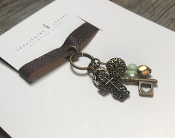Repurposed Leather Choker Necklace with Charms