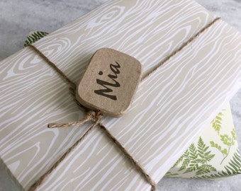 Faux Bois Gift Wrap, fine wrapping paper, all occasion, flat sheet paper, illustrated, woodgrain