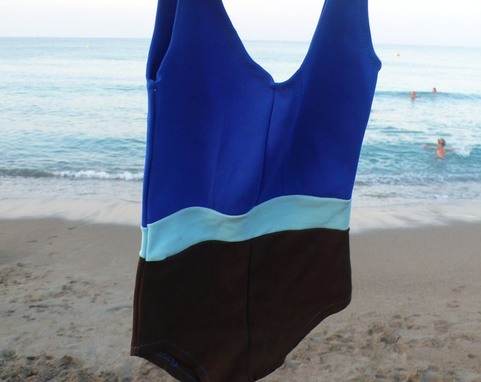 60s NOS Vintage girl swimsuit blue brown