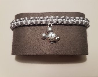 Handmade silver macrame bracelet with Mickey Mouse head charm