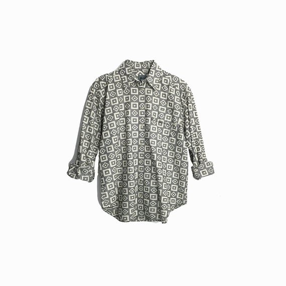 Vintage 90s Boyfriend Shirt in Gray Square Dot Print / Gray Shirt / Geometric Print - women's small