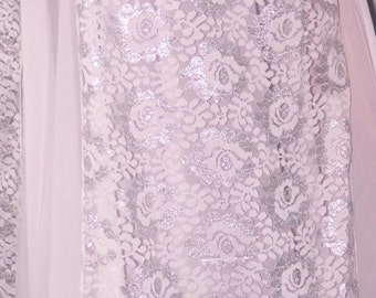 White and Silver Panel Lace Overskirt