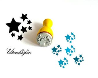 Stamp mini, stars, rubber stamp Ø 11 mm