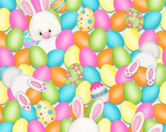 Easter Fabric, Bunny Fabric, Hop To It, Bunnies and Eggs, Easter egg Fabric, by Henry Glass 6855