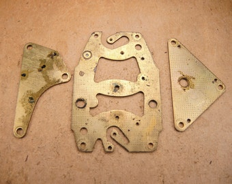 Vintage Brass Clock Plate - Steampunk Jewelry Findings - set of 3 - g48