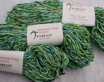 Acrylic Ribbon Worsted Yarn Parfait from Trendsetter Yarns  color Carbiile Blue Green