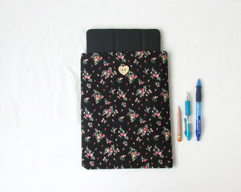 IPad case, floral fabric IPad cover, large tablet cover, 10 inch tablet sleeve, IPad pro cover, Samsung Galaxy tab 10.1 handmade in the UK