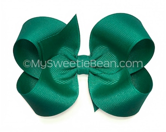 Teal Boutique Bow, 4 inch Hair Bow, Teal Bow, Jade Blue Basic Bow, Alligator Clip or Barrette, Baby Toddler Girl, Teal Hair Bow, Teal Green