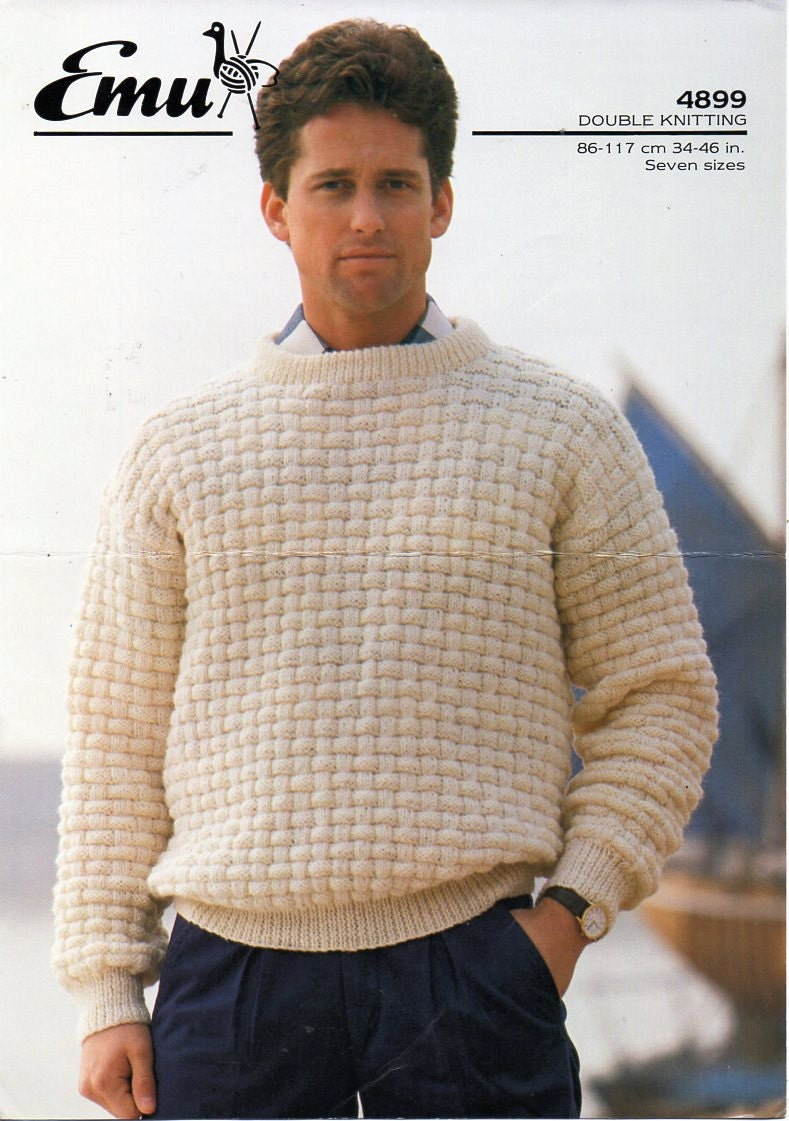 mens sweater knitting pattern pdf DK mens patterned round neck ...