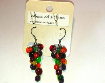 Glass fusing glass grape cluster earrings