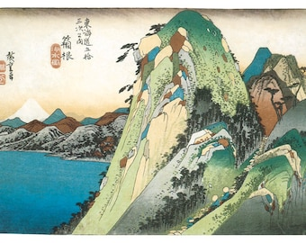 Hand-cut wooden jigsaw puzzle.  MOUNTAIN & LAKE VIEW. Hiroshige. Japanese woodblock print. Wood, collectible. Bella Puzzles.