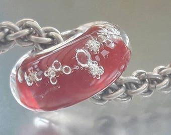 Red Root Chakra Bubbles - Big hole bead - European charm bead - Silver core.