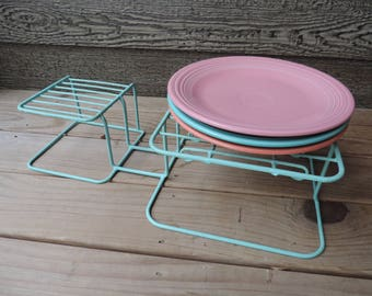 turquoise wire dish rack 1950s rubber coated dish holder vintage cupboard organizer plate rack