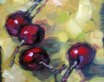 CHERRIES IN LIME. Oil Painting, Vermont country art, Archival Print of original painting & Free Shipping!