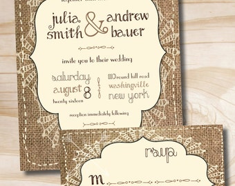 BURLAP SHABBY CHIC Rustic Wedding Invitation and Response Card Invitation Suite