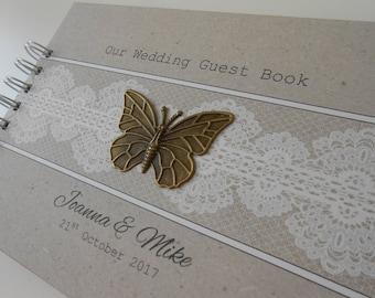 Personalised Vintage Bronze BUTTERFLY Kraft WEDDING Guest Book Photo Album Scrapbook Burlap Lace Hessian