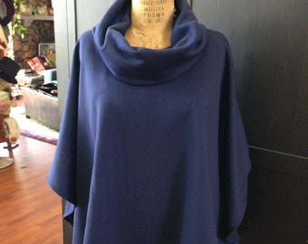 Cowl Neck Poncho Navy Blue Merino Wool Boho Lagenlook
