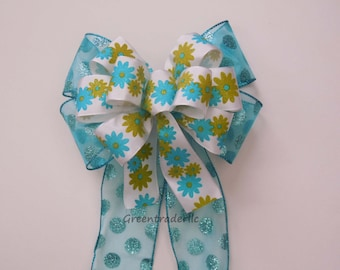 Green Turquoise Wreath Bow Blue Polka Dots Birthday Party Decor Lime Turquoise Pew Bow Lime Blue flowers summer Wreath bow Gifts Wrap bow