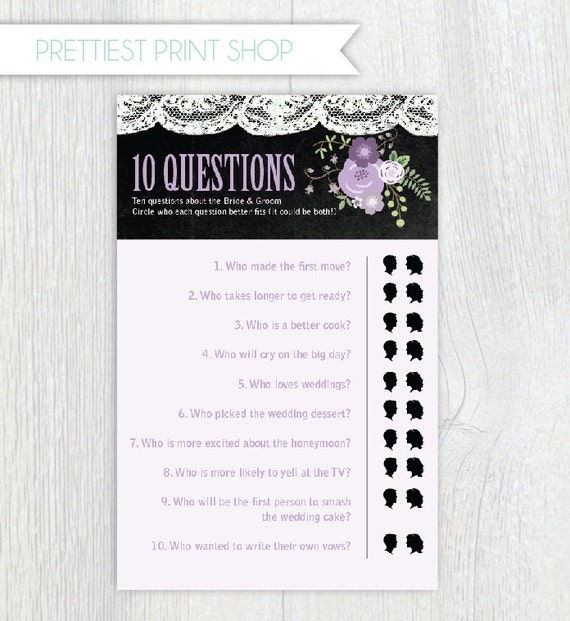Wedding Shoe Game Questions: Printable Bridal Shower Game Sheets Ten Questions Game