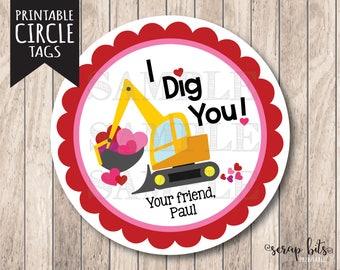 Printable I Dig You Tags, Personalized Printable Valentine Tags, I Dig You Construction Tags