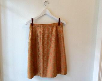90s orange floral skirt S / vintage gold Asian silk pencil midi skirt