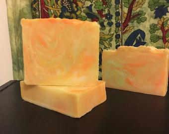 Citrus Sunrise handmade soap. Cold processed soap.