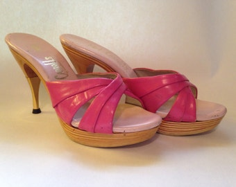 Fabulous Vintage 1950s HOT Pink Leather Mules Polly by Carroll's of Southern California- VLV- Sz 6 1/2