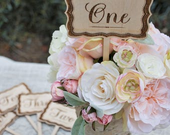 Engraved Wood Table Number - Classic Elegance with Border