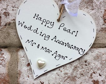 Personalised 30th Pearl Wedding Anniversary gift handmade wooden heart for 30th anniversary