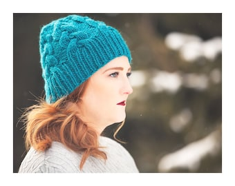 Braided Cable Hat in Teal