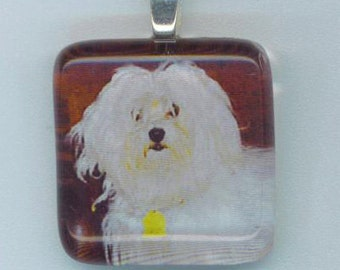 Dog Pendant . Square Mosaic Tile Glass . Dog Lover Jewelry . Bright Eyes . Silver Plate Ball Chain - A Cute Friend by enchantedbeas on Etsy