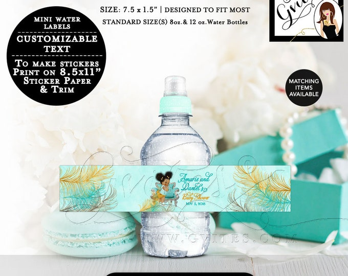 """MINI Water Bottle Labels Baby Shower Turquoise Gold Silver Baby Shower Labels African American. Fits 8oz-12oz. Size: 7.5 x 1.5""""/7 Per Sheet"""