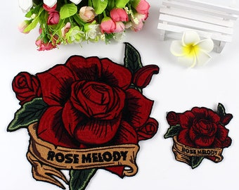 Big Red Rose Embroidered Patch,Floral Applique Embroidery Design,Iron on Patch,Flower Applique Embroidery Designs,Clothes,Shirt,Dress,Bag