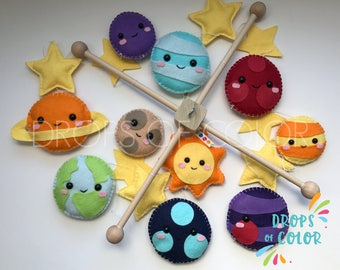 Planets Mobile, Big Baby Mobile, Baby Crib Ceiling Mobile, Solar System, Space, Earth, Saturn, Stars and Moon, Nursery Decor, Handmade Felt