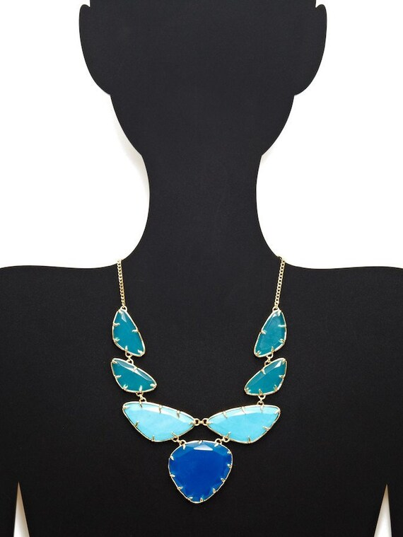 Gorgeous Kendra Scott Marisol turquoise & azure blue gold necklace