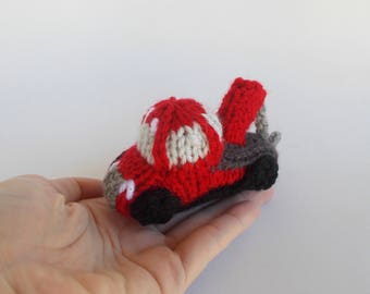 Miniature Tow Truck Knitted Soft Ornament - Construction Ornament - Kids Room Decor - Model Vehicle - Stocking Stuffer - Car Gift Idea